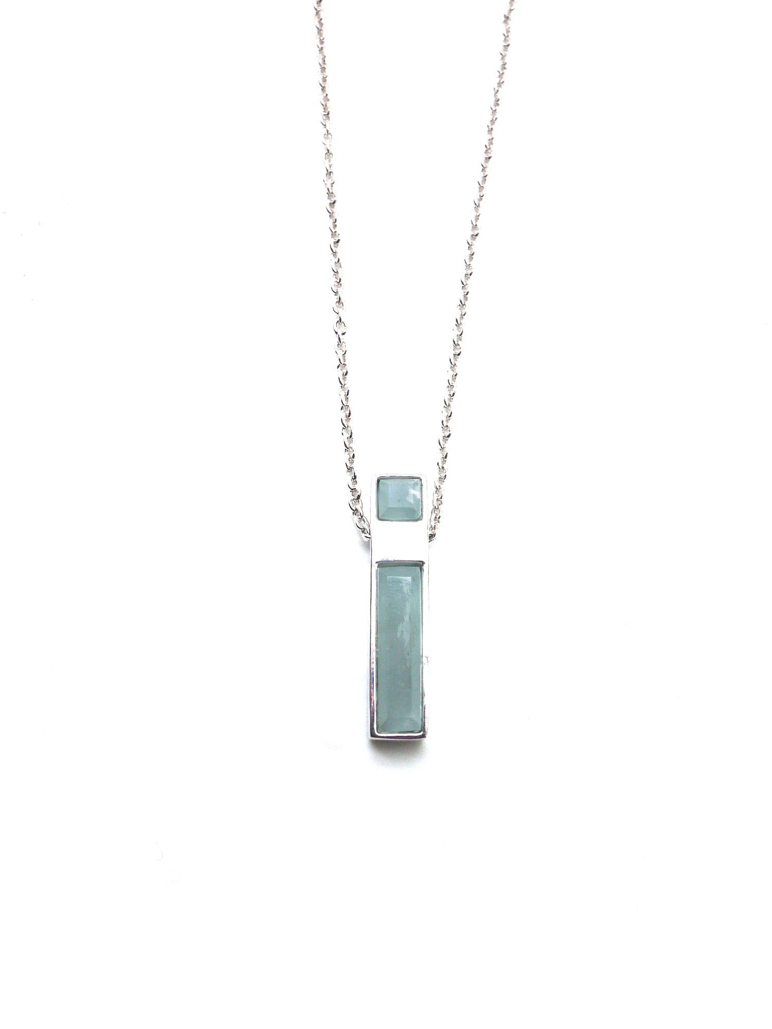 Linear Necklace - Rhodium - Aquamarine