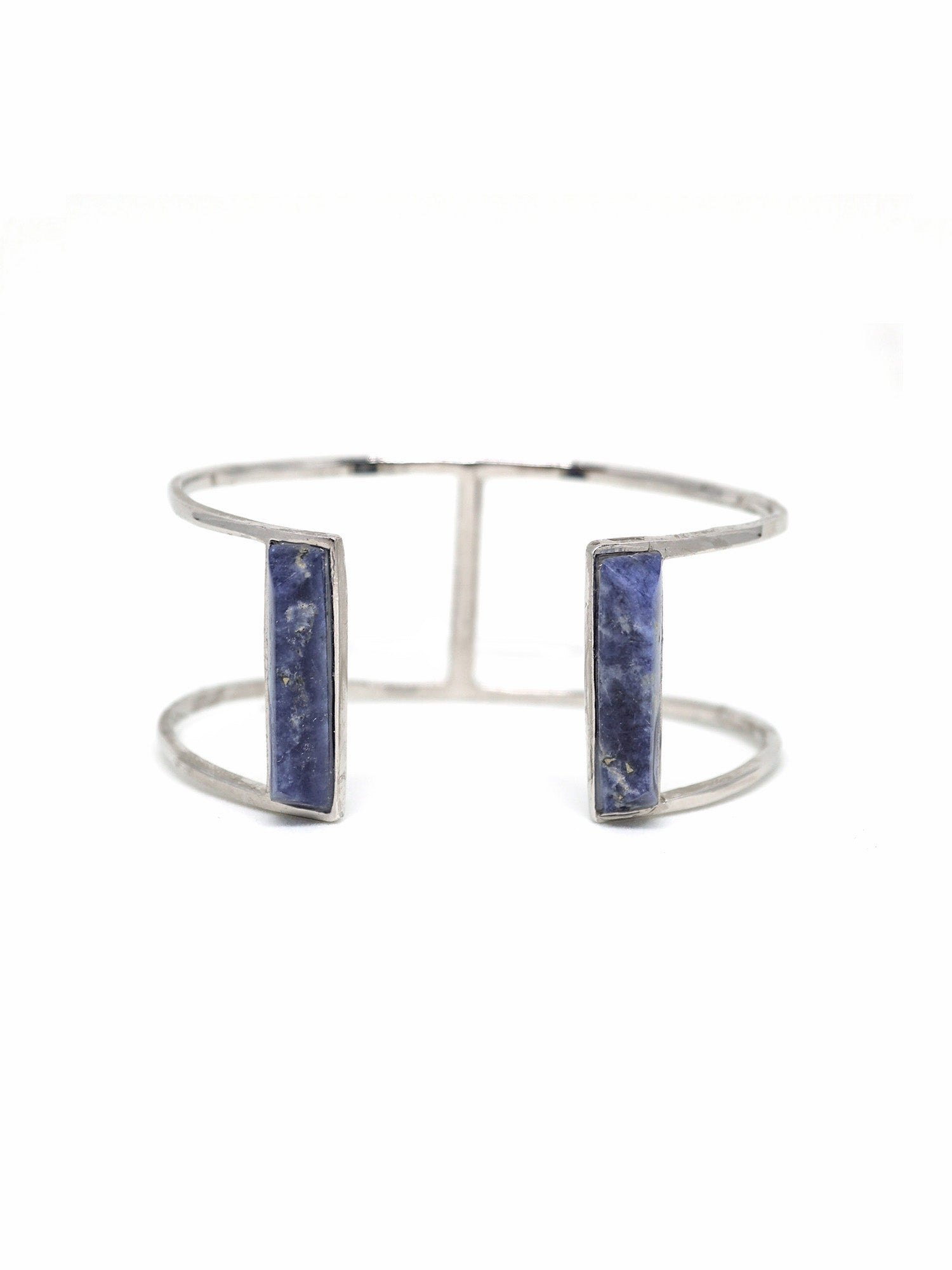 Linear Edge Bangle - Rhodium - Lapis Lazuli