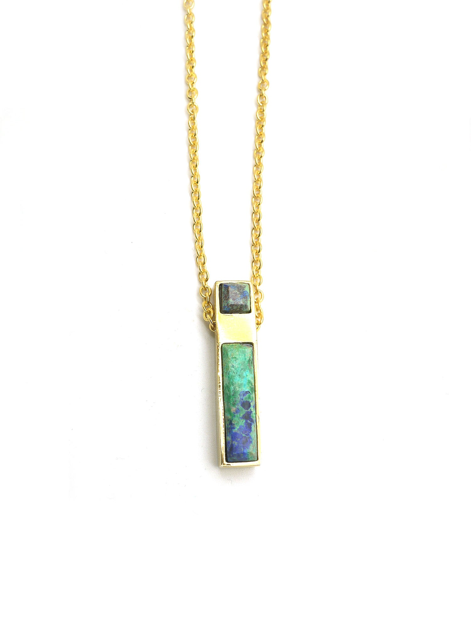 Linear Necklace - Gold - Azurite Malachite