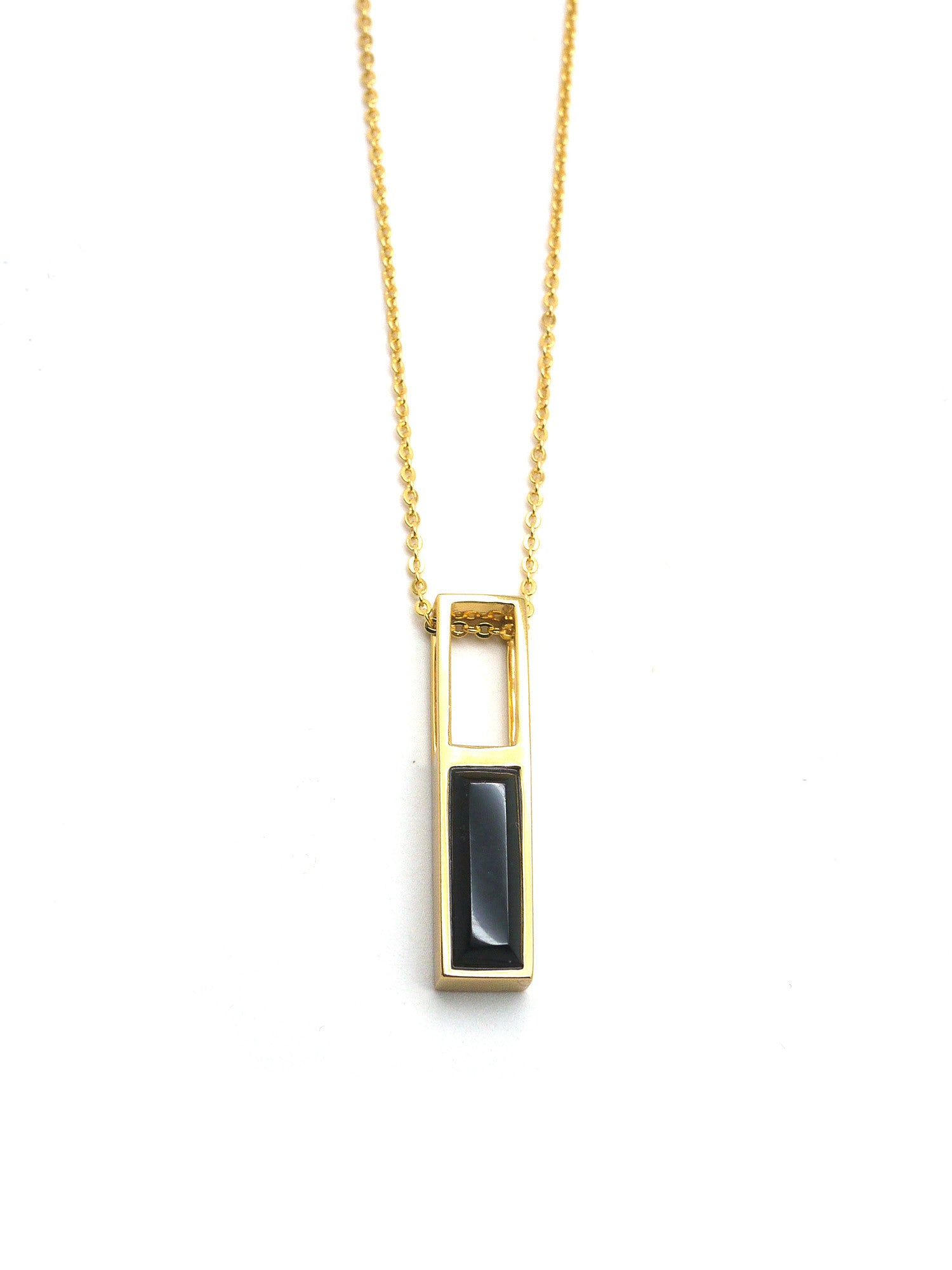 Linear Hollow Necklace - Gold - Onyx