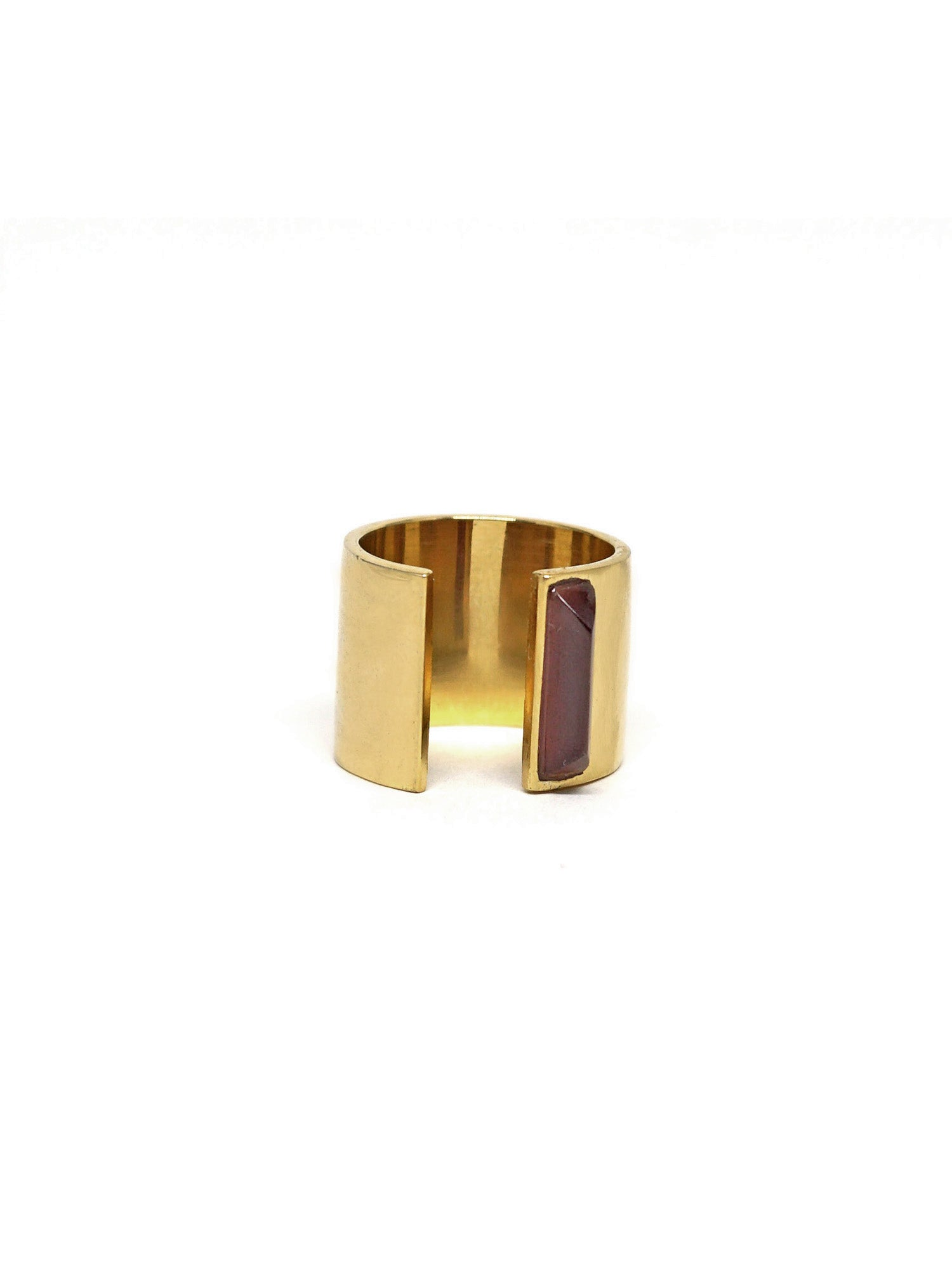Linear Edge Ring - Gold - Garnet
