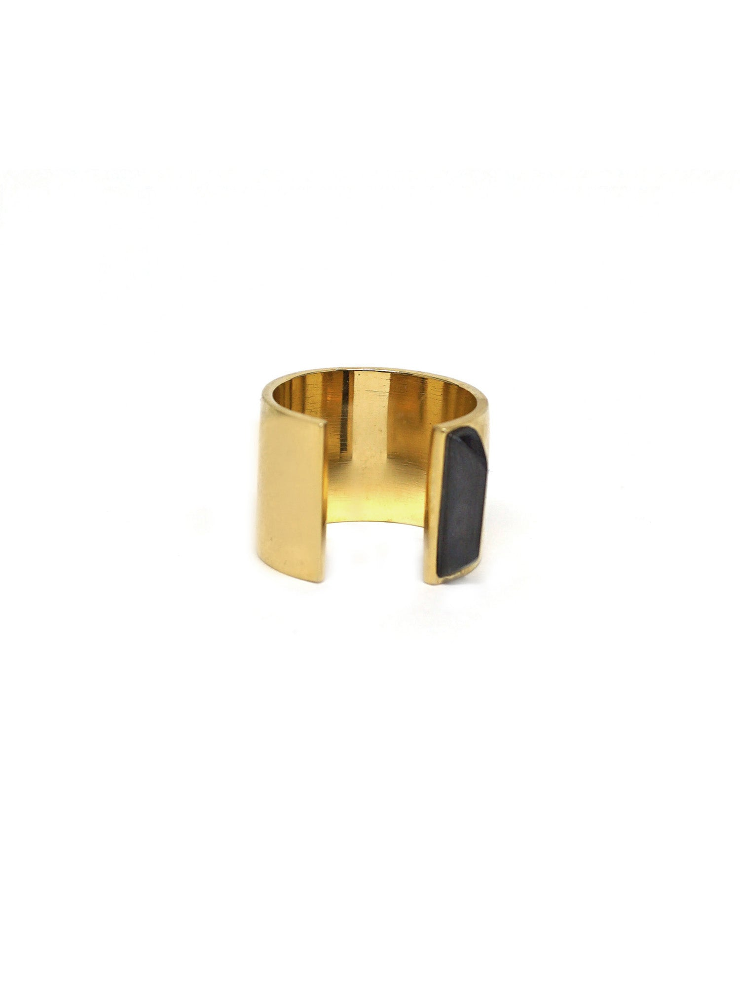 Linear Edge Ring - Gold - Onyx
