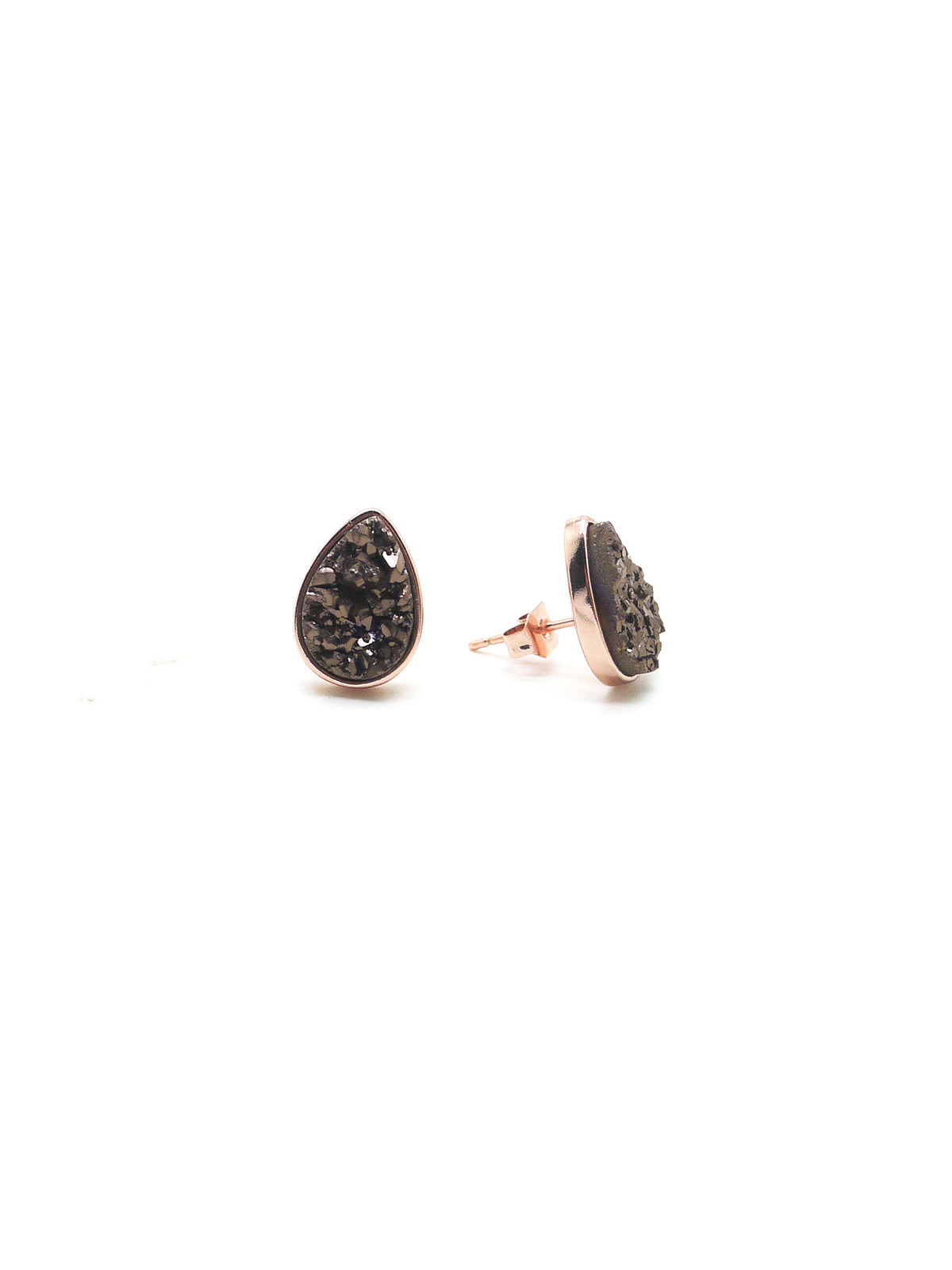 Druzy Studs (teardrop) - rose gold - bronze