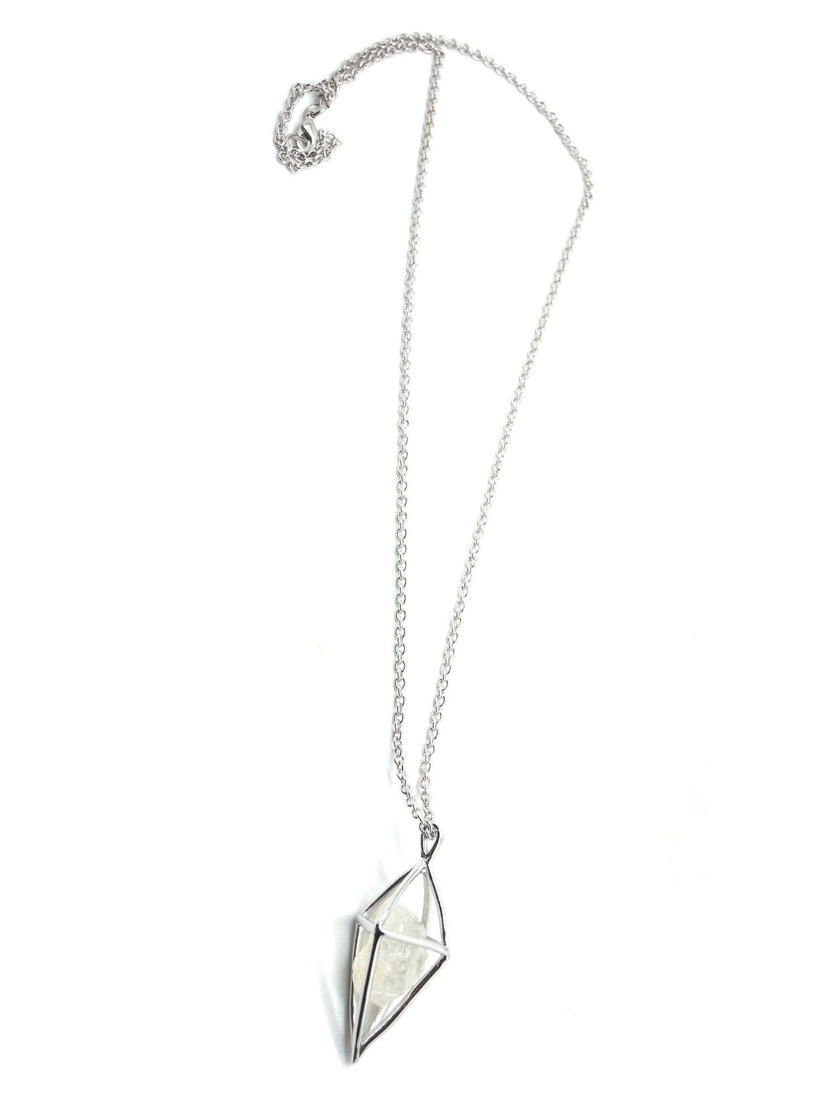 Diamond Stone Necklace - Rhodium - White Quartz