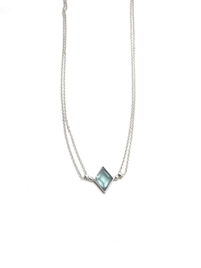 Euclidean Necklace - Rhodium - Blue Apatite