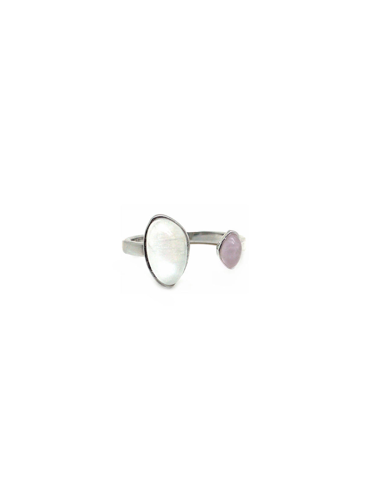 Gaea Duo - Rhodium - Moonstone / Rose Quartz