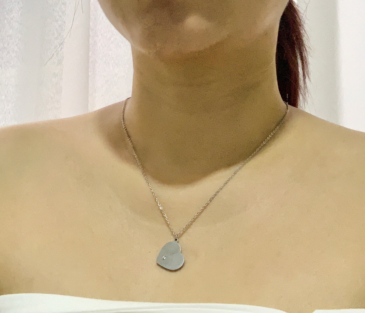 Heart Necklace - Rhodium