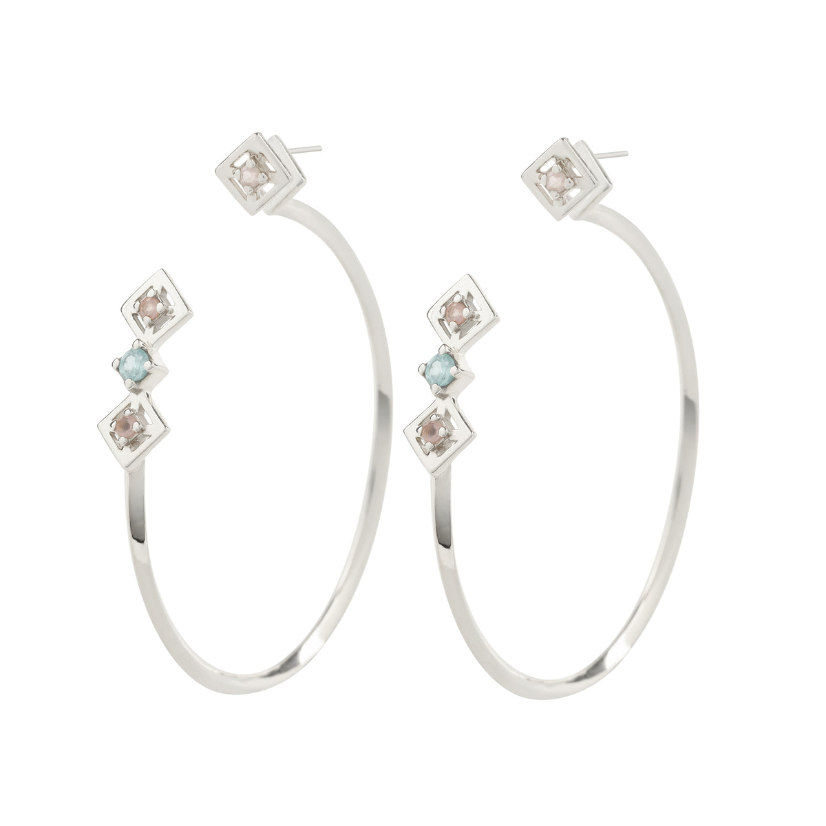 Reconceptions Two-Way Hoops - Rhodium - Pink