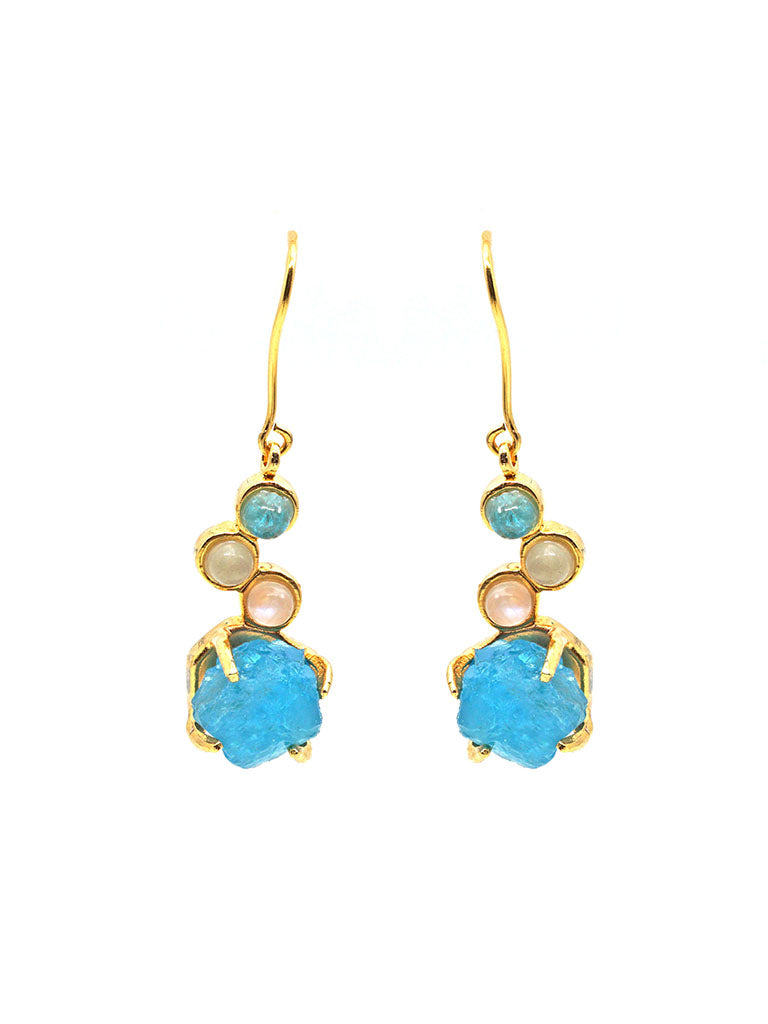 Unveil Dangle Earring - Gold - Blue Apatite