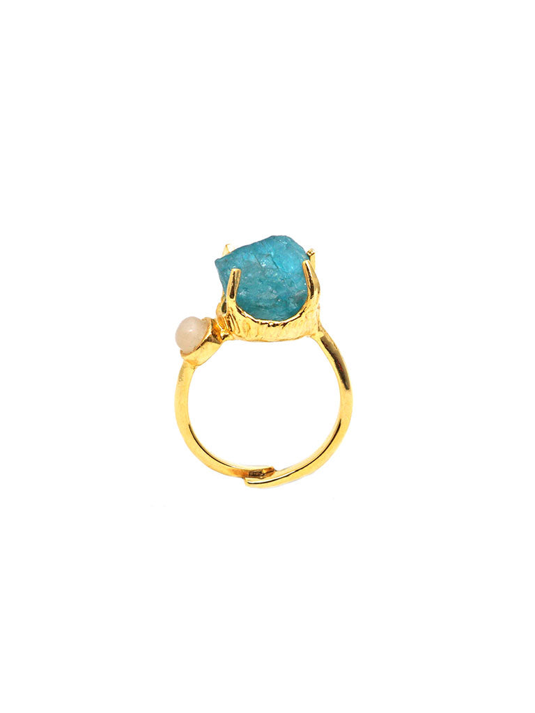 Unveil Ring - Gold - Blue Apatite