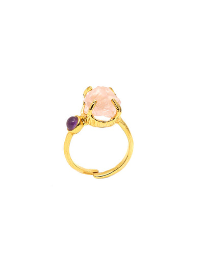 Unveil Ring - Gold - Rose Quartz