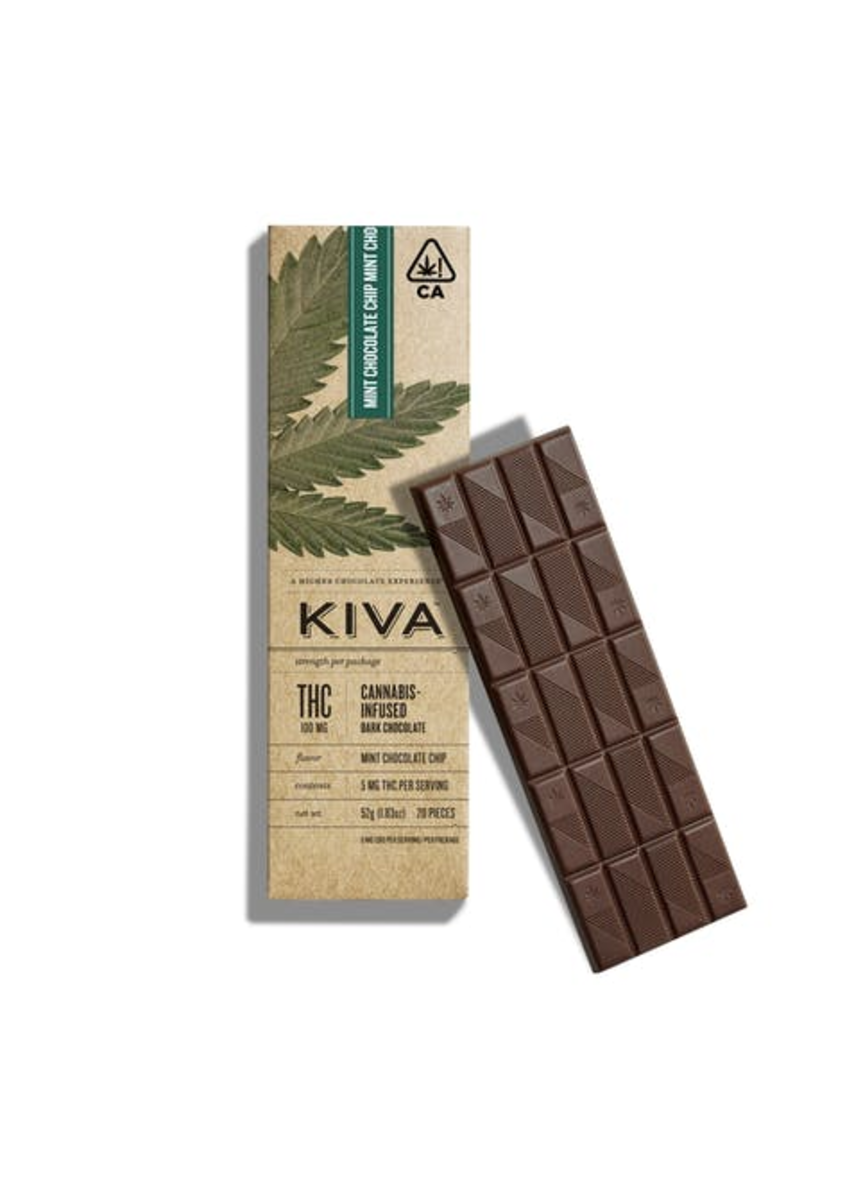 KIVA Bar | Dark Mint Chocolate Chip 100mg THC
