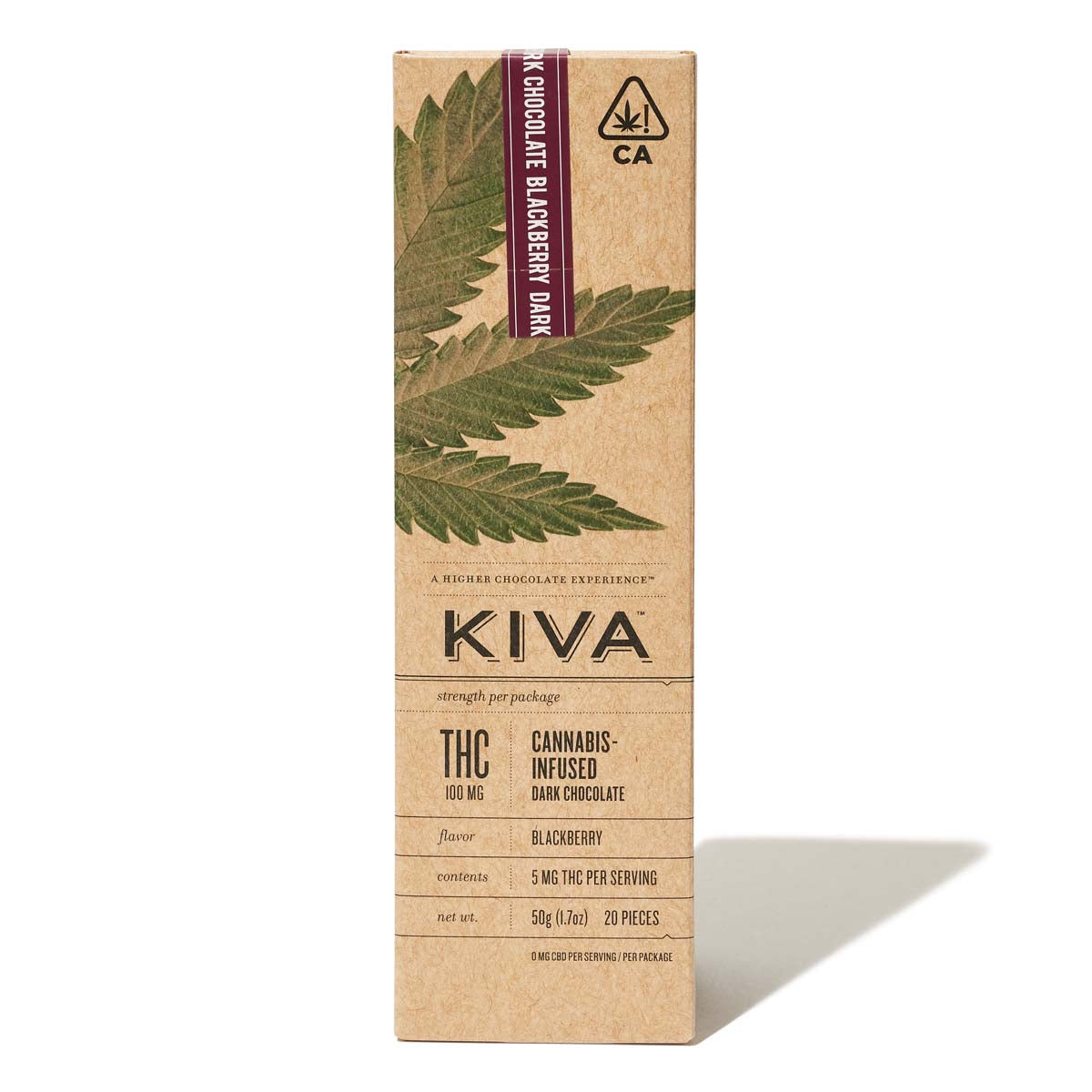 KIVA Bar | Dark Chocolate Blackberry 100mg THC