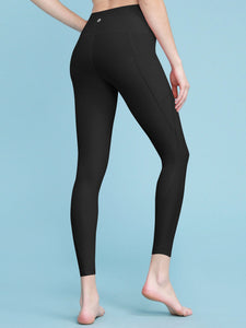 QB3002 Women's Yoga Pants Tummy Compression Slimming Capri Leggings with Pocket