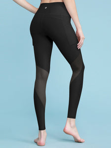 QB3005 WOMEN'S MESH KNEE BAND POCKET LEGGINGS