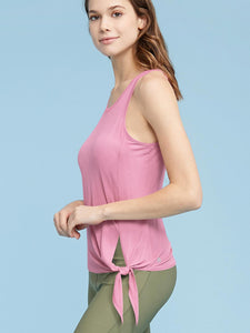 QT3010 Womens Workout Shirts Athletic Yoga Tops Tie Front Tops Scoop Neck and Back Tank Tops