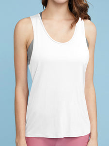 QT3014 Women's Cross Back Yoga Shirt Activewear Workout Clothes Racerback Tank Top