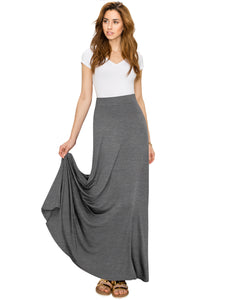 WB1434 Women's Print/Solid High Waist Maxi Skirt-Made in U.S.A.