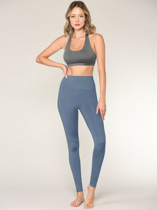 QB3018 Peached Seamless Front & Side High Waisted Leggings with Inner Pocket Full-Length Yoga Pants