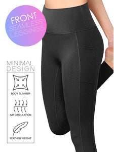 QB3019 WOMEN'S Peached Seamless Front Leggings with Side Pocket Full-Length Yoga Pants