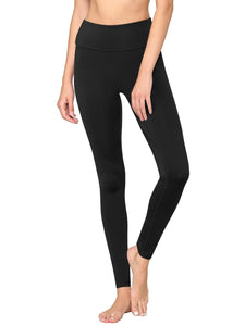 QB3020 Women's Peached Seamless Front & Side Foldable Waisted Leggings with Inner Pocket Full-Length Yoga Pants