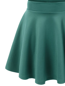 WB669 Basic Versatile Stretchy Flare Skater Skirt - Made in USA