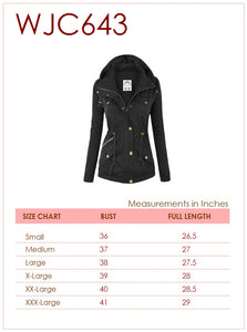 WJC643 Women's Casual Military Safari Anorak Jacket with Hoodie
