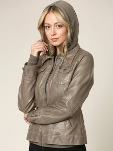 WJC664 Womens 2-For-One Hooded Faux leather Jacket