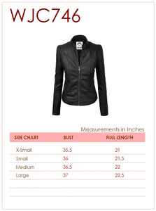 WJC746 Women's Faux Leather Zip Up Moto Biker Jacket with Stitching Detail