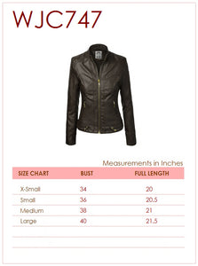 WJC747 Women's Faux Leather Quilted Biker Jacket