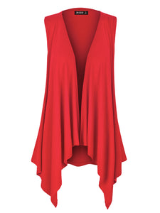 WSK1071 Womens Lightweight Sleeveless Open Front Drape Cardigan