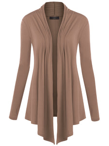 WSK850 Womens Draped Open- Front Cardigan