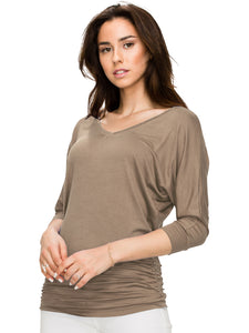 WT1036 Women's V-Neck/Boat Neck 3/4 Sleeve Drape Dolman Shirt Top with Side Shirring