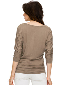 WT1036 Womens V Neck 3-4 Sleeve Dolman Top with Side Shirring