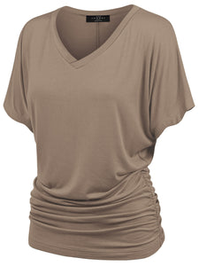 WT1037 V Neck Short Sleeve Dolman Top with Side Shirring