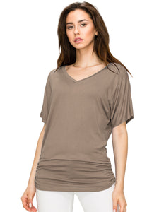 WT1037 Women's Solid Short Sleeve Boat Neck V Neck Dolman Top with Side Shirring