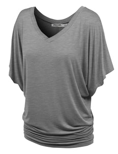 WT1038 Women's V Neck Short Sleeve Dolman Top - Made in USA