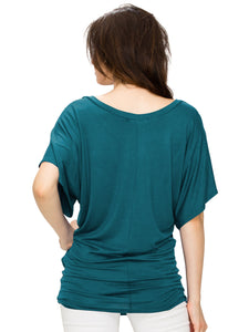WT1038 Womens V Neck Short Sleeve Dolman Top
