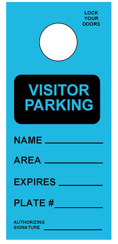 "Temporary Hang Tags 3.667x8.5"" - Visitor Parking Pass"