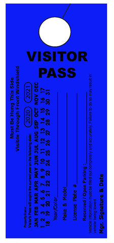 "Temporary Hang Tags 3.667x8.5"" - Vertical Visitor Pass"