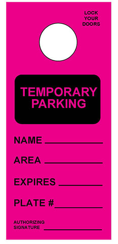 "Temporary Hang Tags 3.667x8.5"" - Temporary Parking Pass"