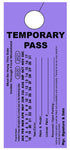 "Temporary Hang Tags 3.667x8.5"" - Vertical Temporary Pass"