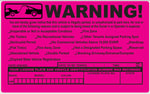 Warning Identification 8x5 - Rectangle