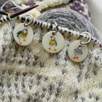 Woolly Puffin stitch markers in pocket tin - Emma Ball