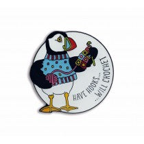 Woolly Puffin 'Have hooks will Crochet' Enamel Pin - Emma Ball
