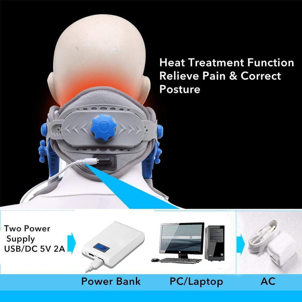 The Wild Crave Cervical Neck Traction Device Heating Neck Traction Device, Cervical Stretcher, Neck decompression, Spinal Decompression, Neck Brace Support, Neck Pain Relief | Wild Crave