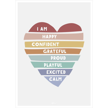 Load image into Gallery viewer, Heart Affirmations Poster Wall Decal I AM Statement