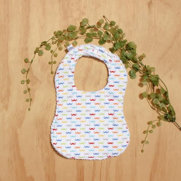 colourful moustache baby bib handmade broome