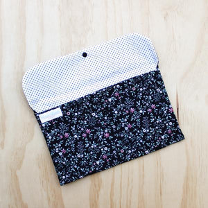 Dark Floral Nappy Clutch