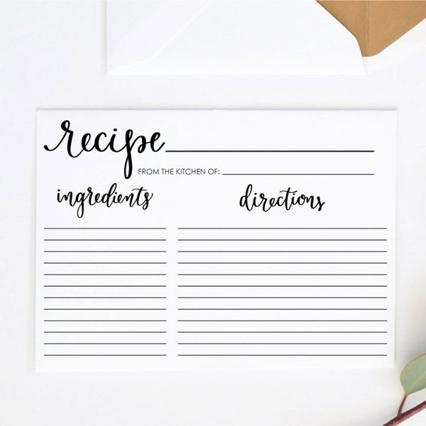 "5"" x 7"" Recipe Card Printable"